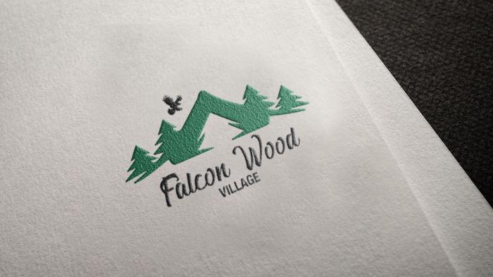 Falcon Wood Village Logo Mockup