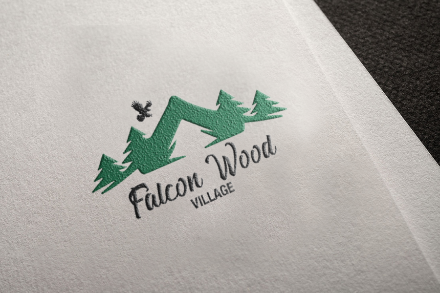 Falcon Wood Village Logo Mockup